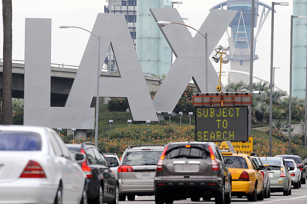 Traffic backs up at a security checkpoint near the entrance to Los Angeles International Airport