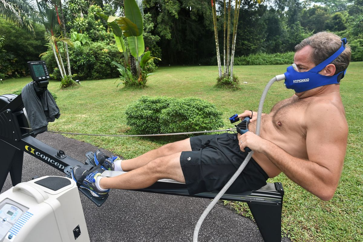 This is  hypoxic rowing training, in preparation for an attempt to summit Mount Everest,