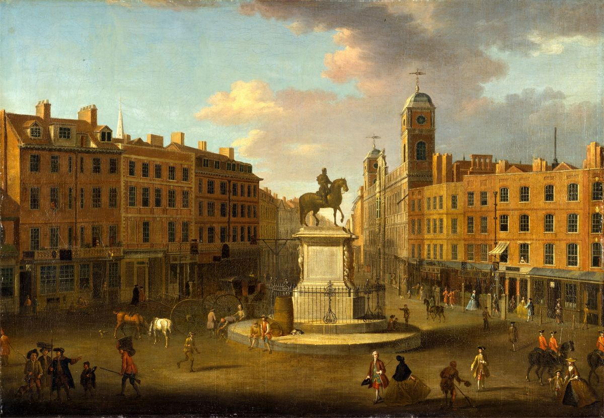 Charing Cross, with the Statue of King Charles I and Northumberland House, London, 1713