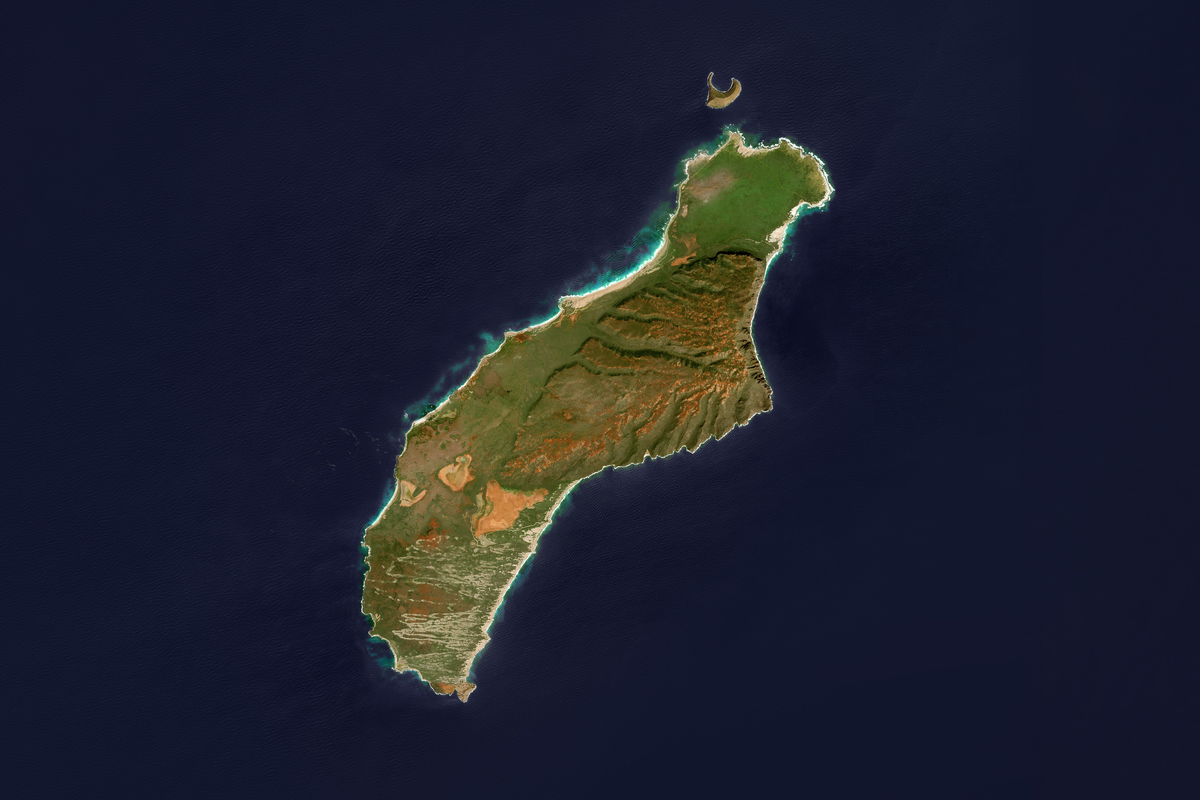This is an enhanced Sentinel Satellite Image of the Hawaii island of Niihau.