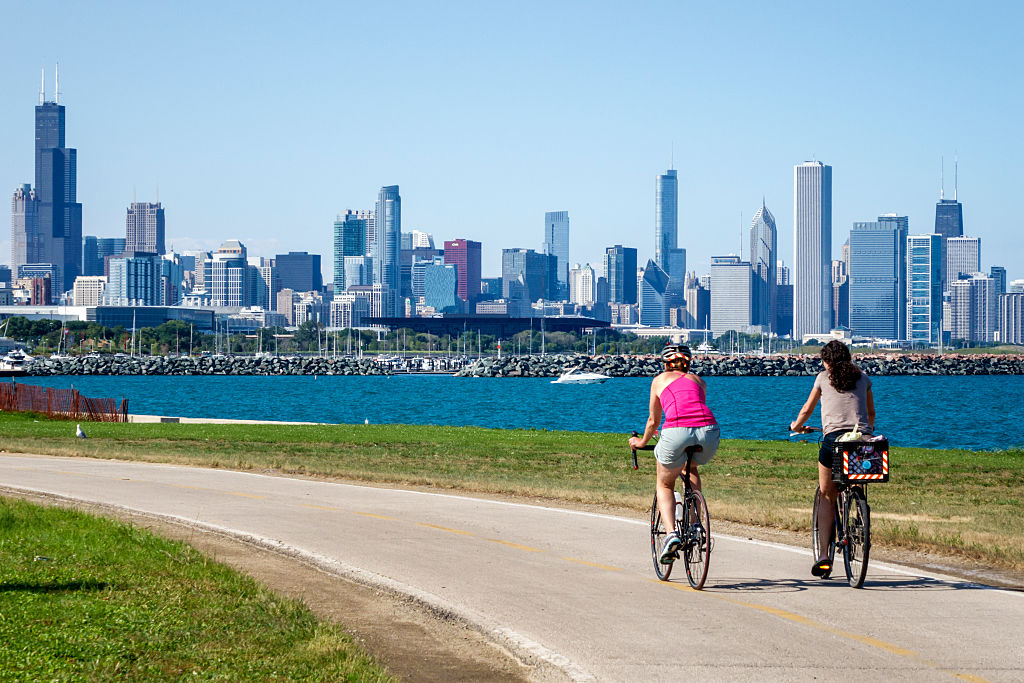 bicycling on the coast in Chicago