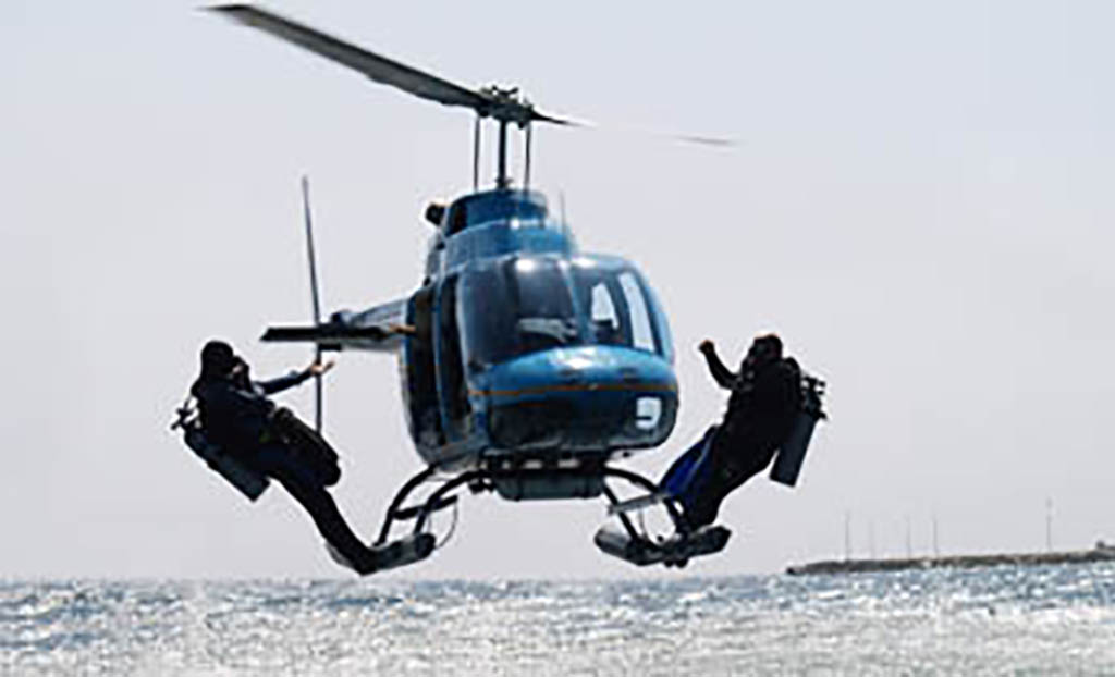 Divers on helicopter