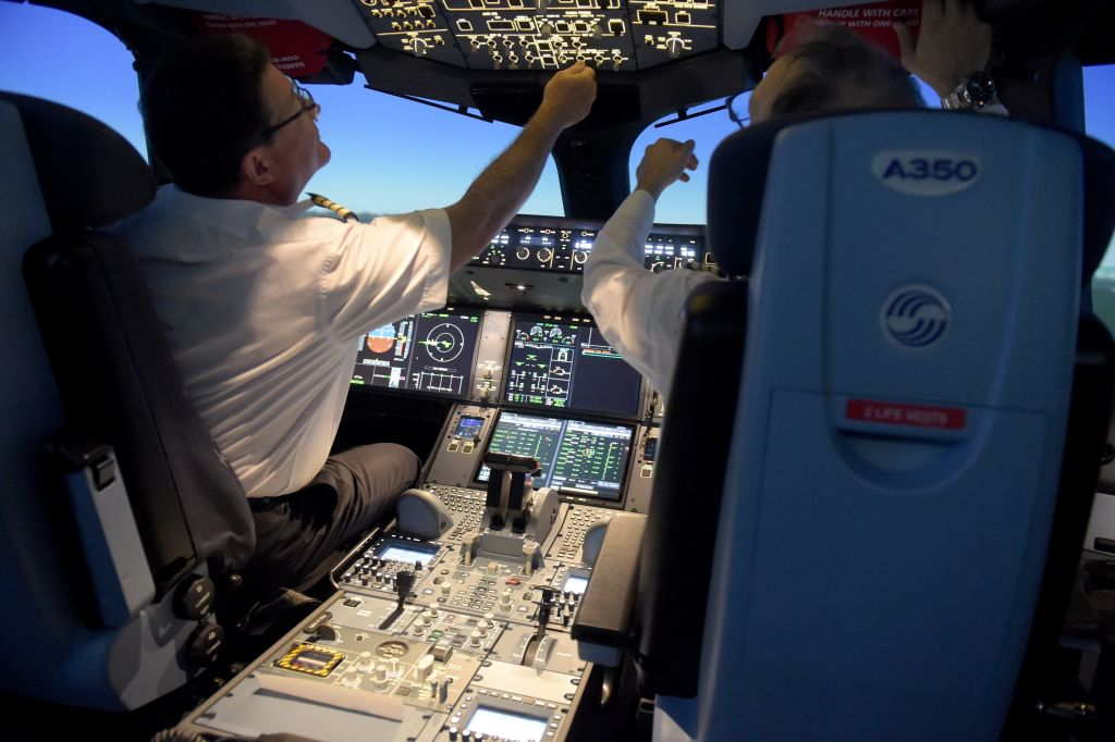 Pilots Adjust The Settings In The Cockpit