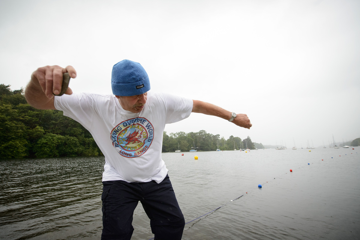 Current world record holder Ron Long competes during the National Stone Skimming Championship