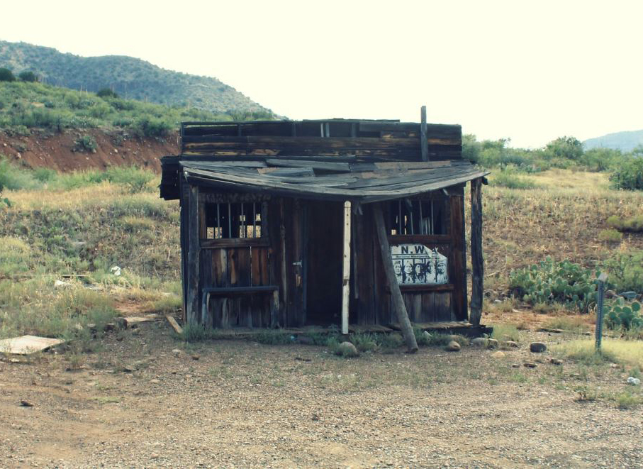 An old abandoned jailhouse from the Wild West is in Salt River Canyon, Arizona.