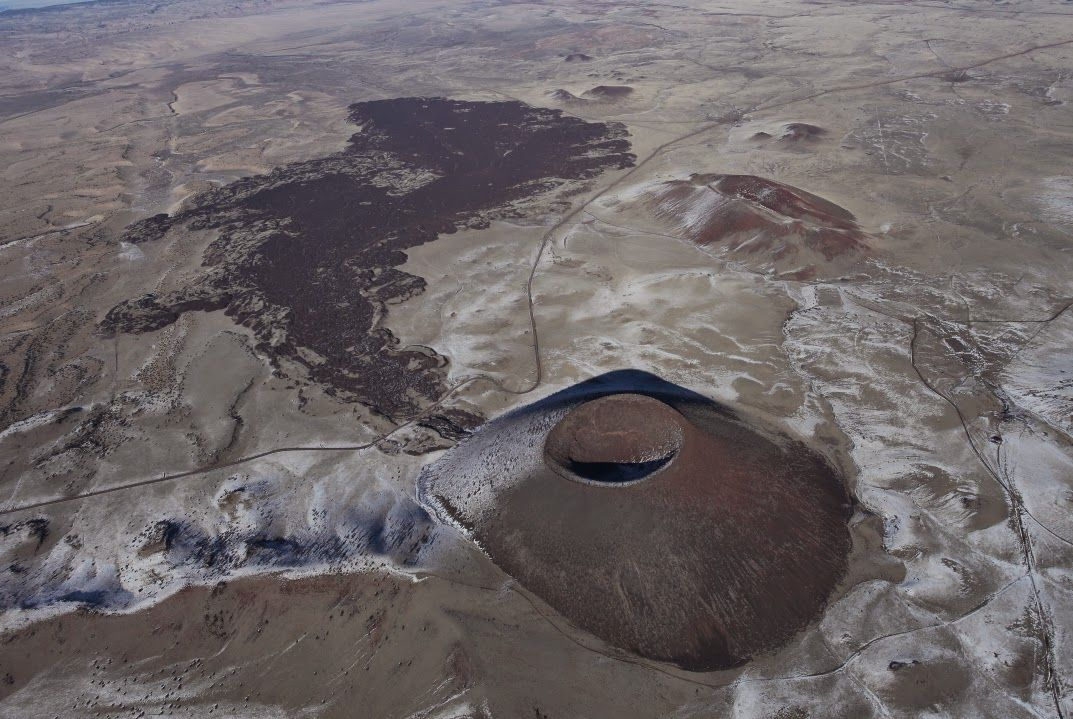 An aerial view shows SP Crater in Arizona.