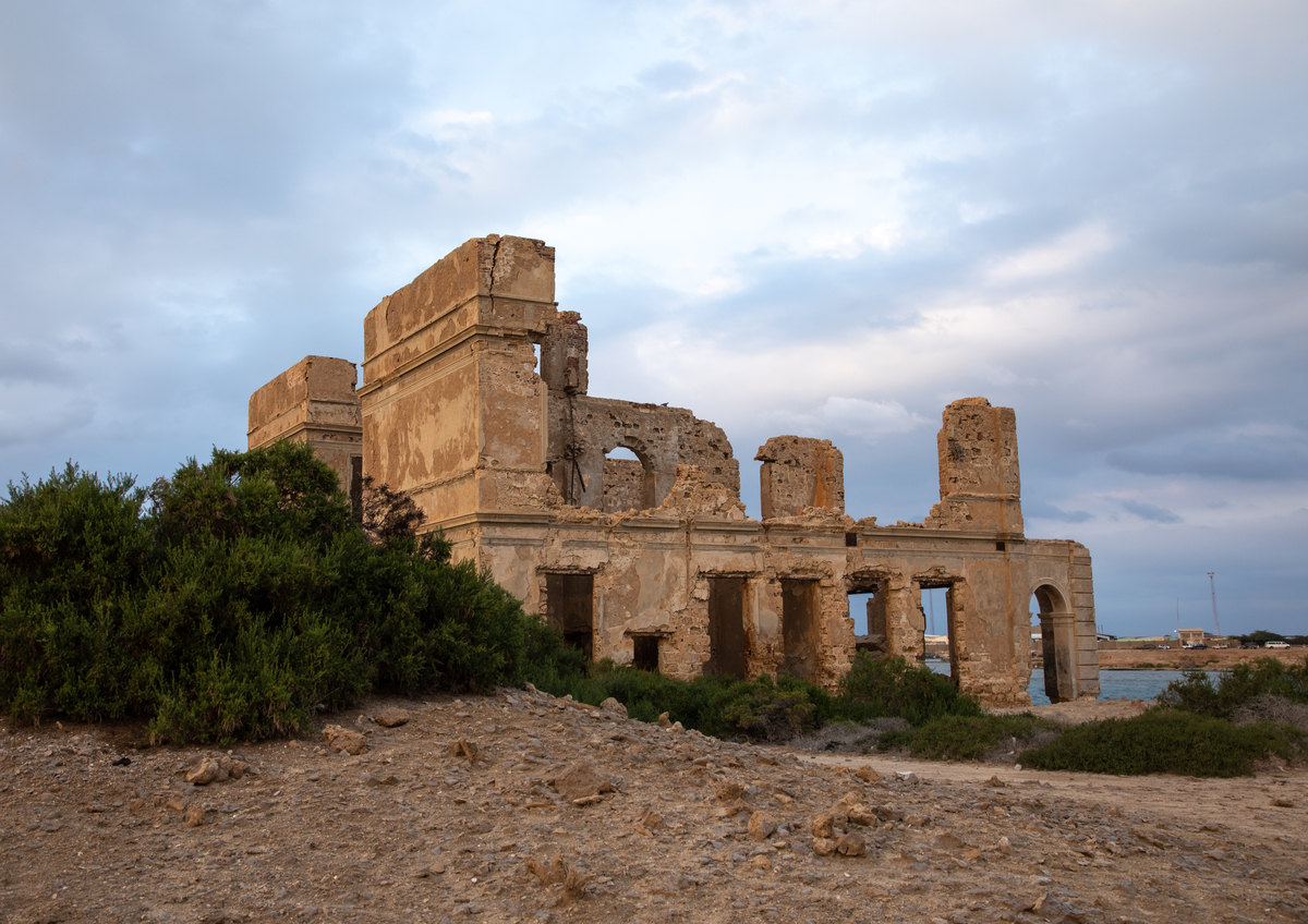 Ruined ottoman coral buildings sit on Suakin Island in the Red Sea.