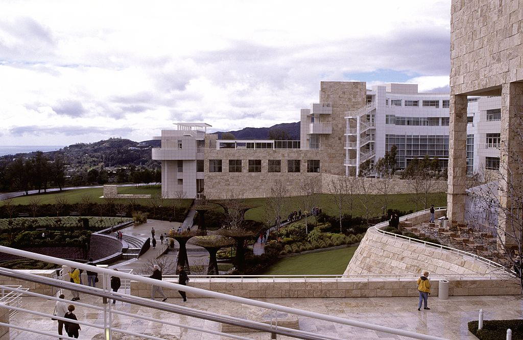 A photograph shows the outside of the Getty Museum in LA.