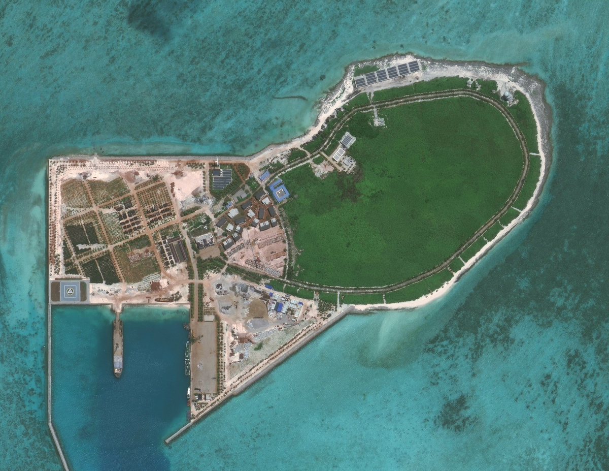 An aerial of Tree Island is seen in the South China Sea.