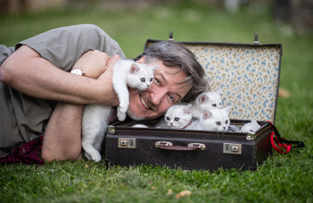 A man leans down to snuggle kittens in a suitcase.