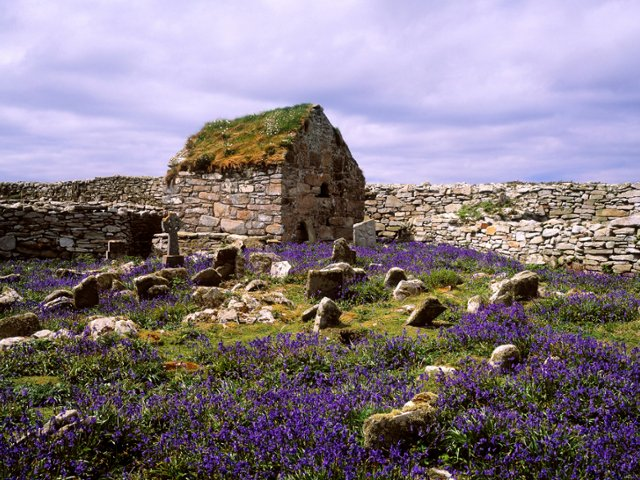 Monastic stone ruins are seen at Inishmurray ruins