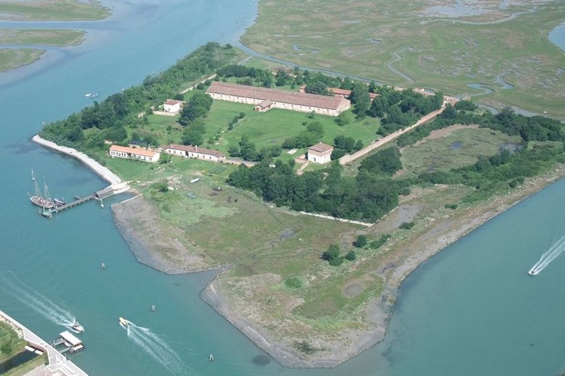 An aerial view shows the Italian island Lazzaretto Nuovo.