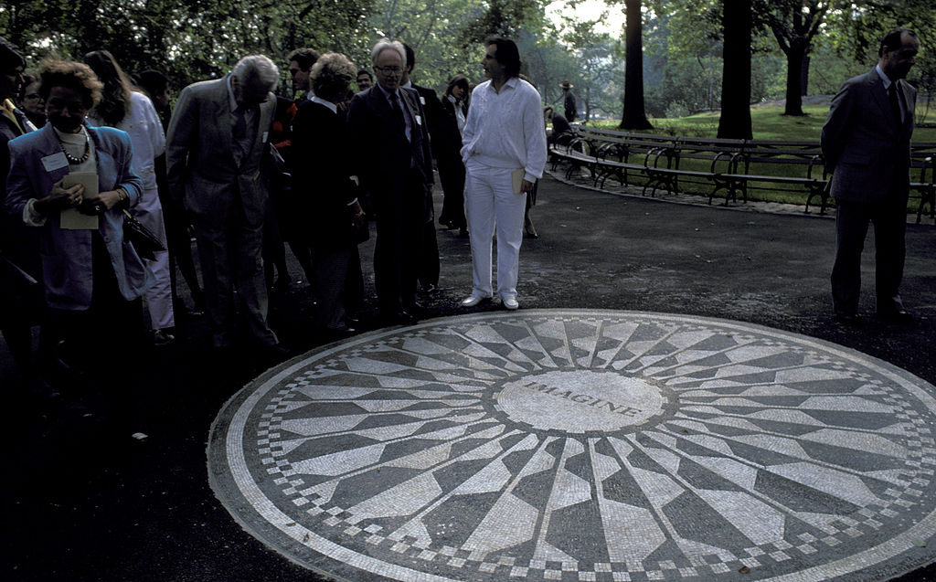 Beatles' Fans during Strawberry Fields Dedication at Central Park