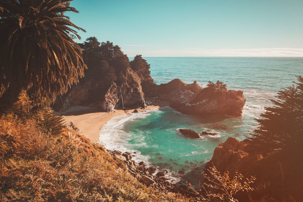 a full view of the beach at McWay Falls