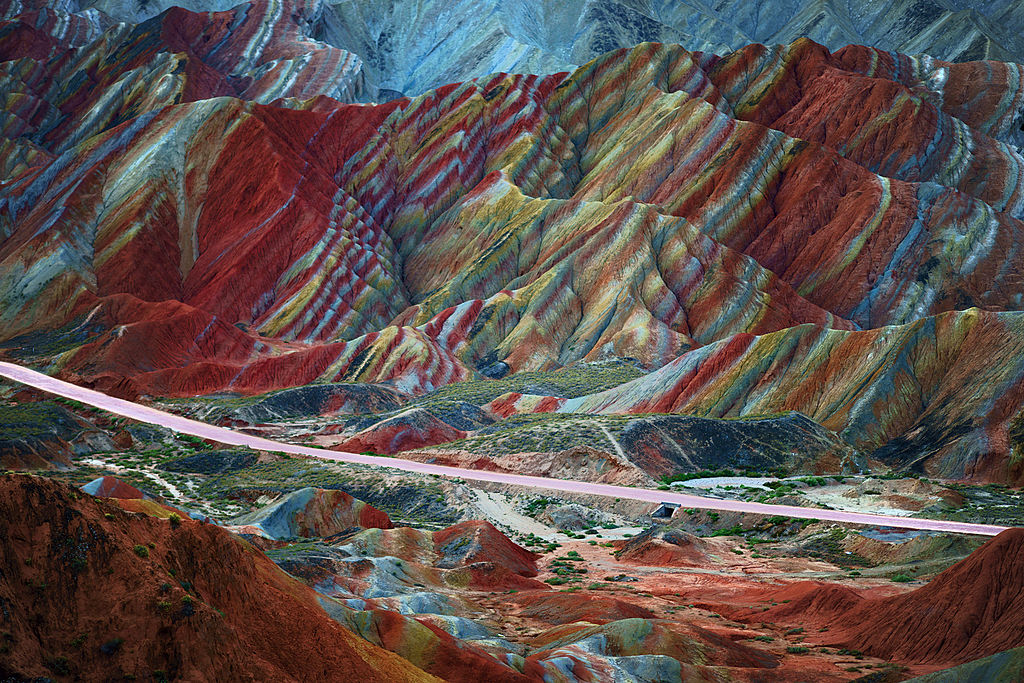 a mountain with numerous colors called Zhangye Danxia Landform