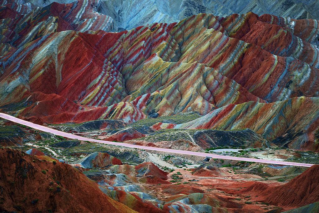 a mountain with numerous colors called Zhangye Danxia Landform