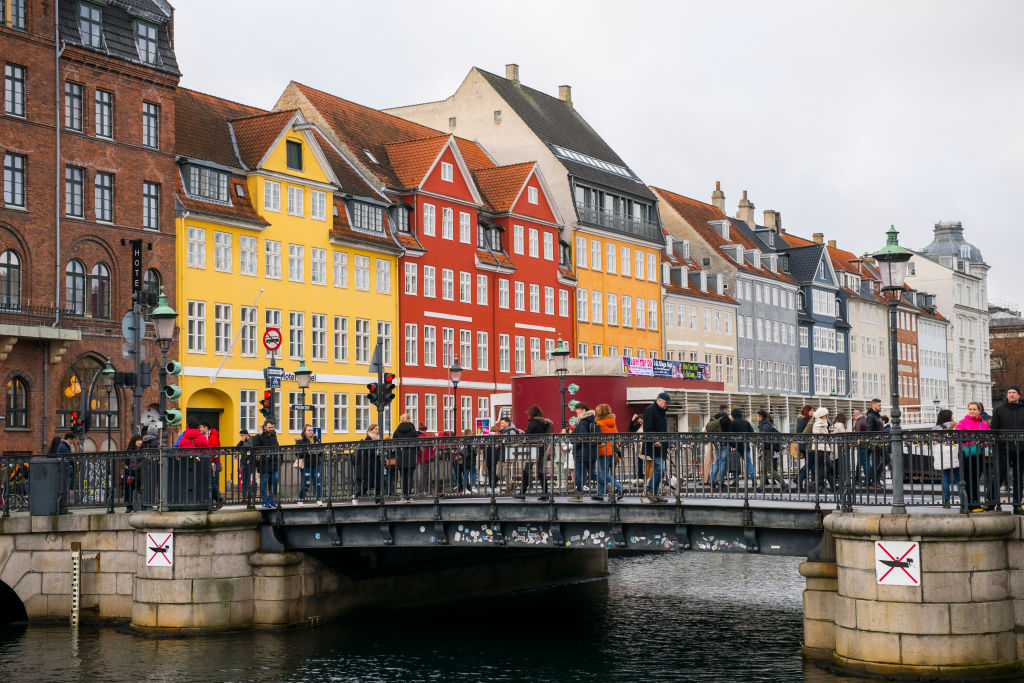 a view of the harbor in copenhagen, denmark