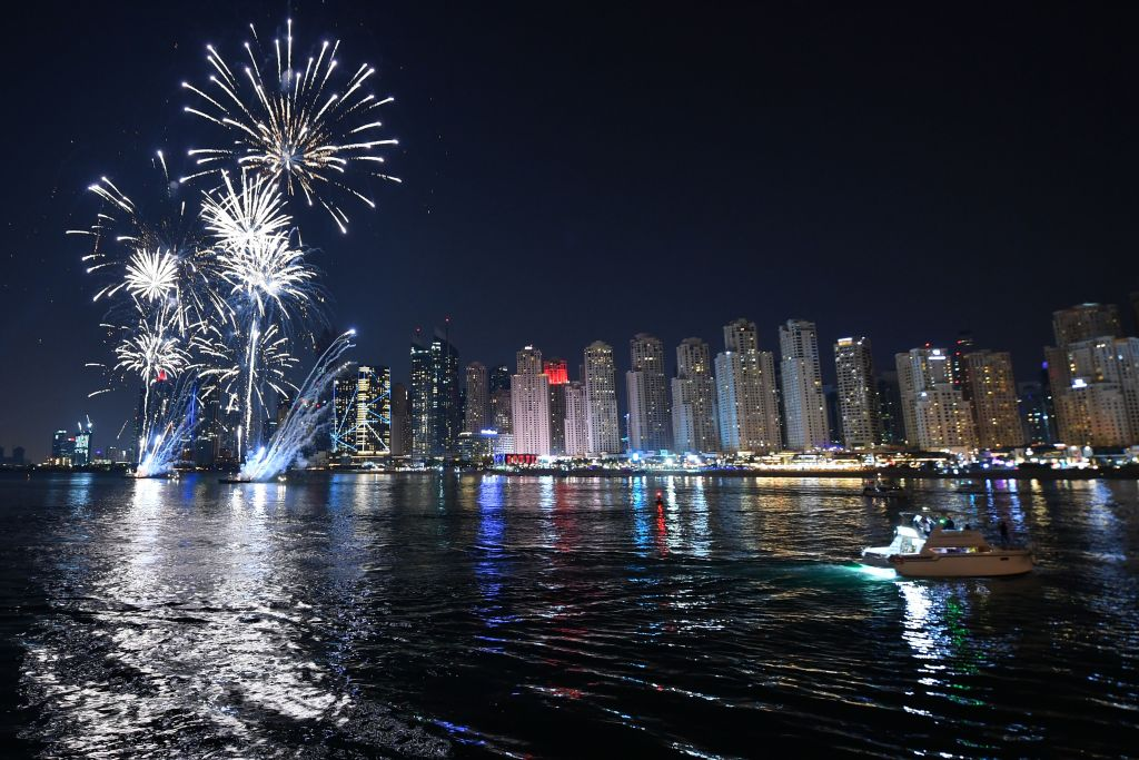 fireworks across the dubai skyline