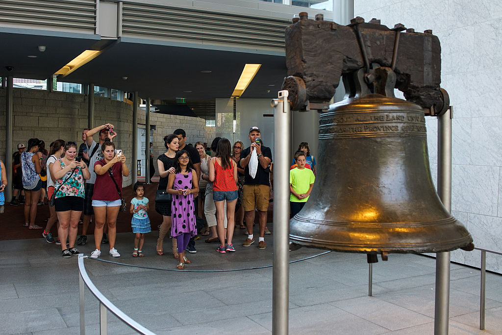 tourists taking photos of the liberty bell