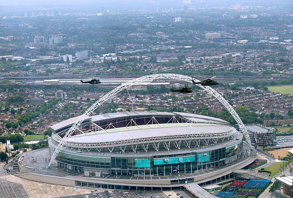 helicopters passing wembley stadium in london