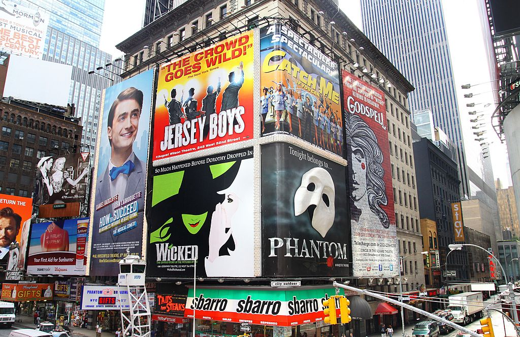 broadway posters in times square, new york