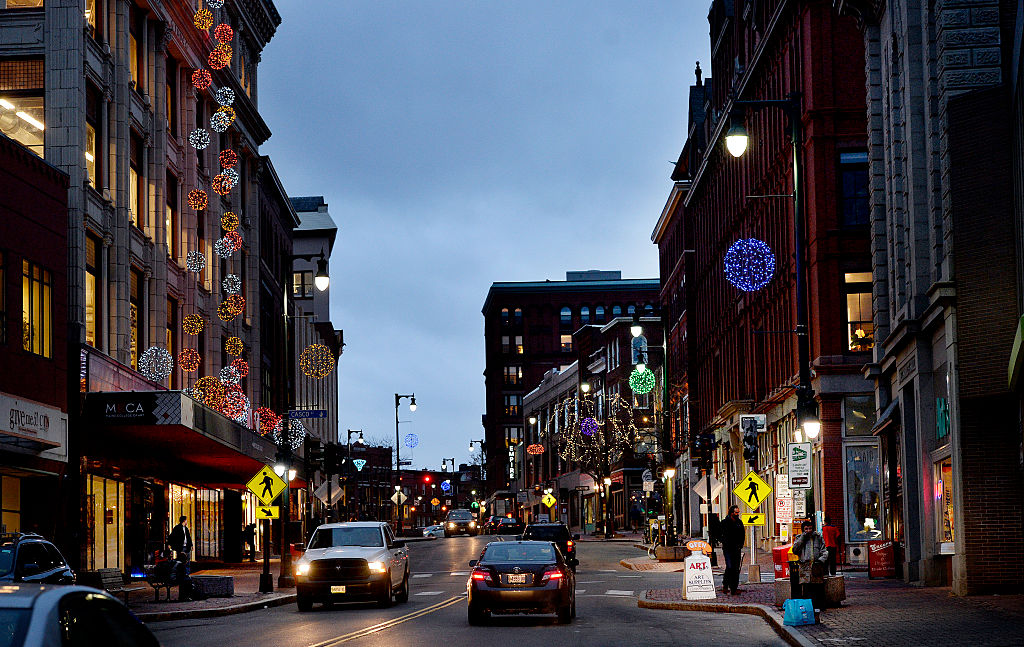 a downtown street in portland, maine