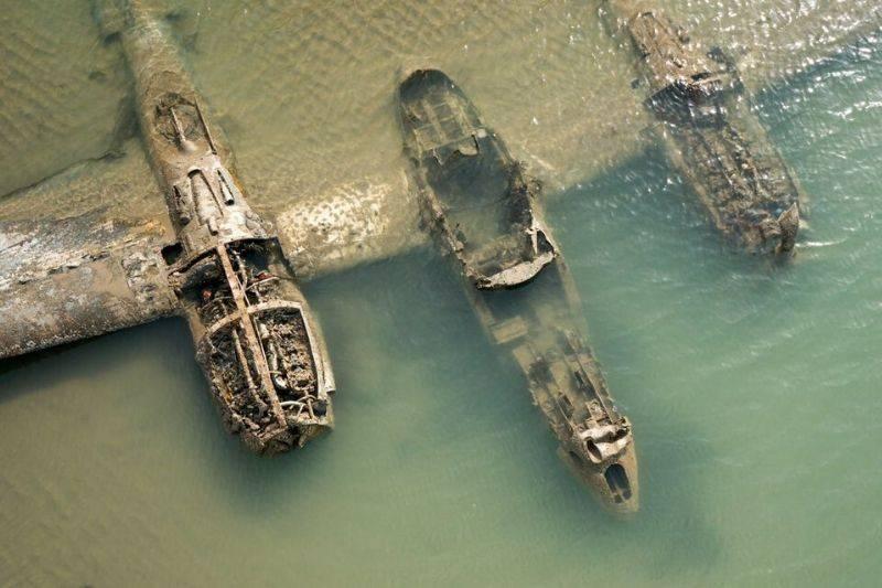 a sunken plane in Wales