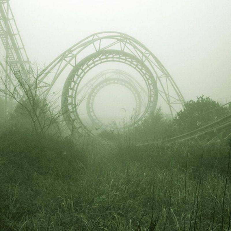 an abandoned roller coaster in Japan