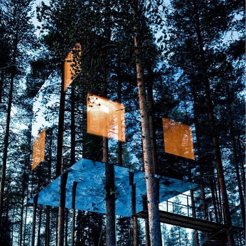 a mirrored cabin