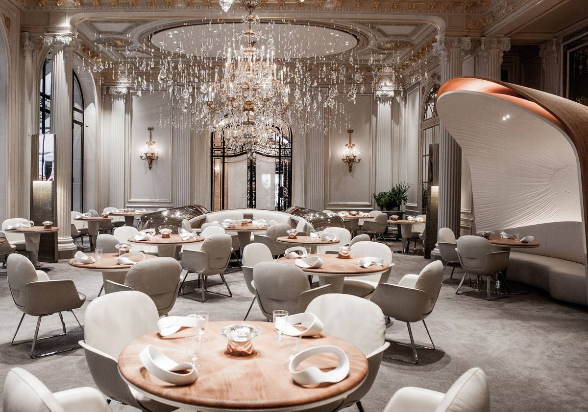 The dining space of the Alain Ducasse au Plaza Athénée is seen.
