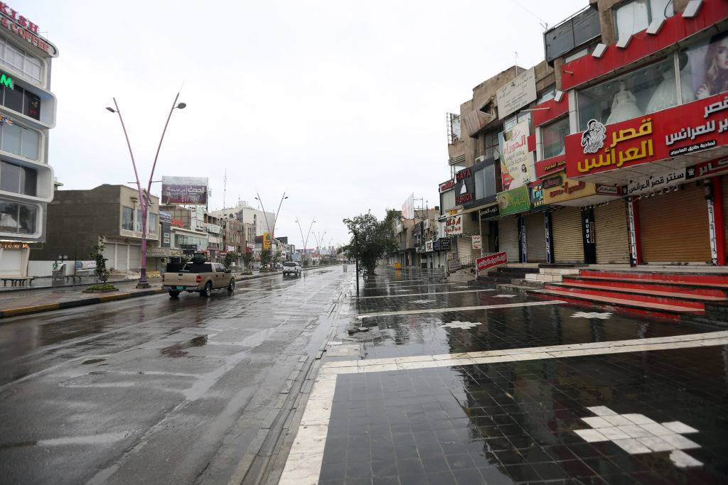 an empty street after the rain in Baghdad, Iraq