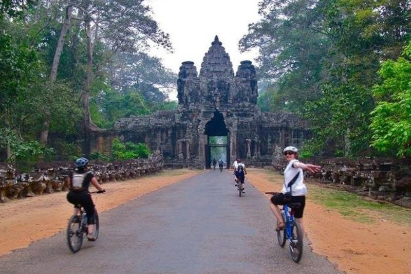 biking through temple