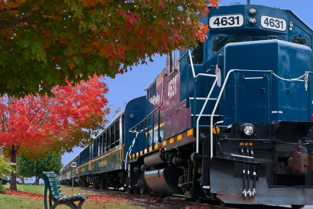 a blue train riding past a park bench in Blue Ridge, Georgia