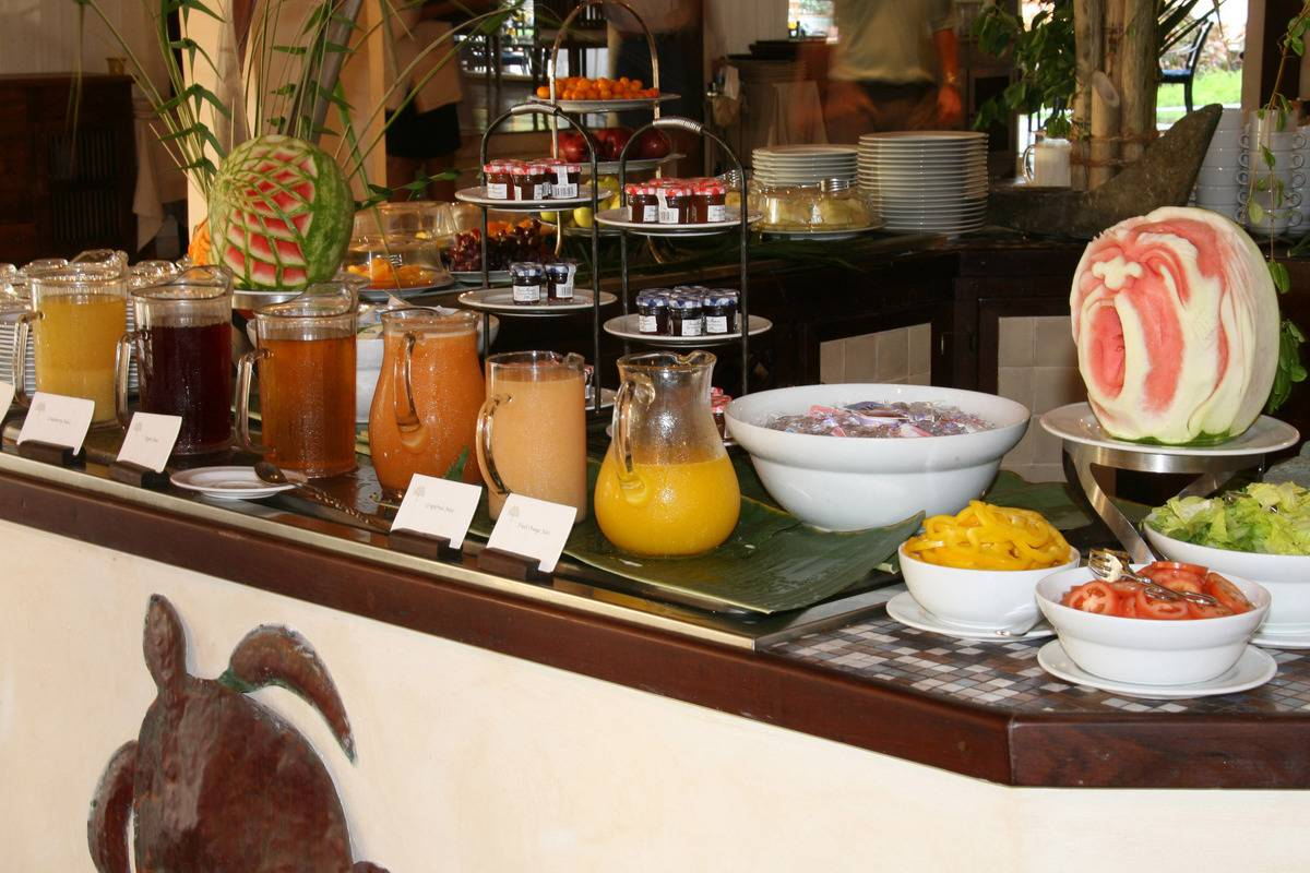 juice buffet at breakfast