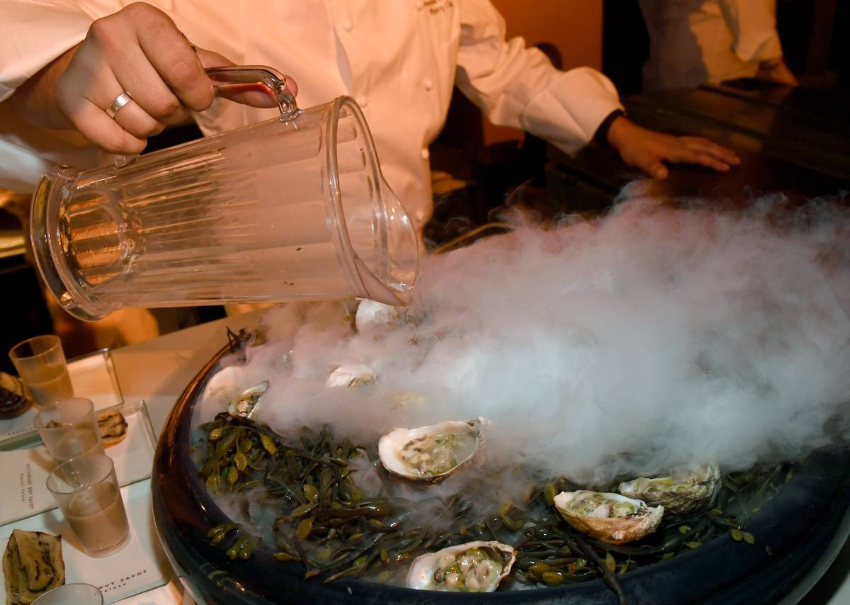 Shigoku oysters are cold steamed at the Restaurant Guy Savoy.