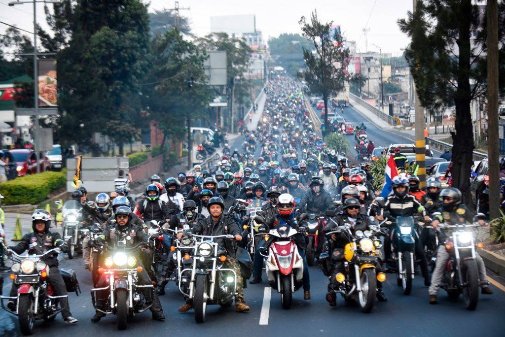 motorcyclists filling the streets in Guatemala City, Guatemala