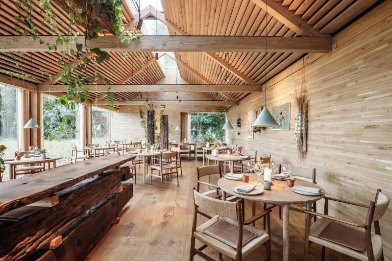 A timber dining hall inside the restaurant Noma is seen in Denmark.