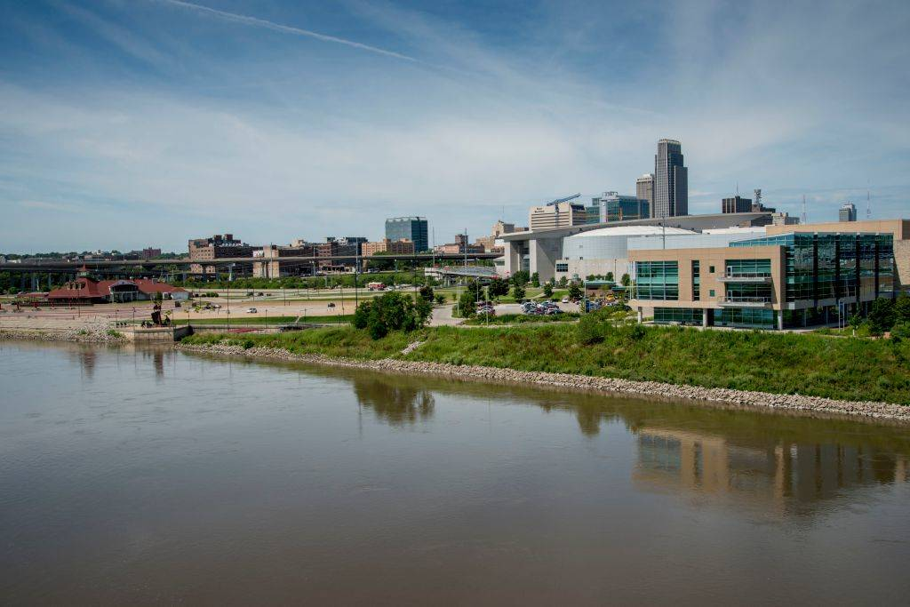 the skyline of Omaha, Nebraska on the Missouri river