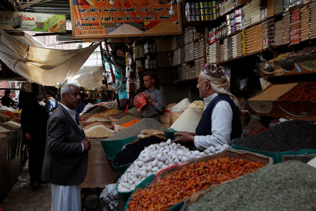 a food market in Sana'a, Yemen