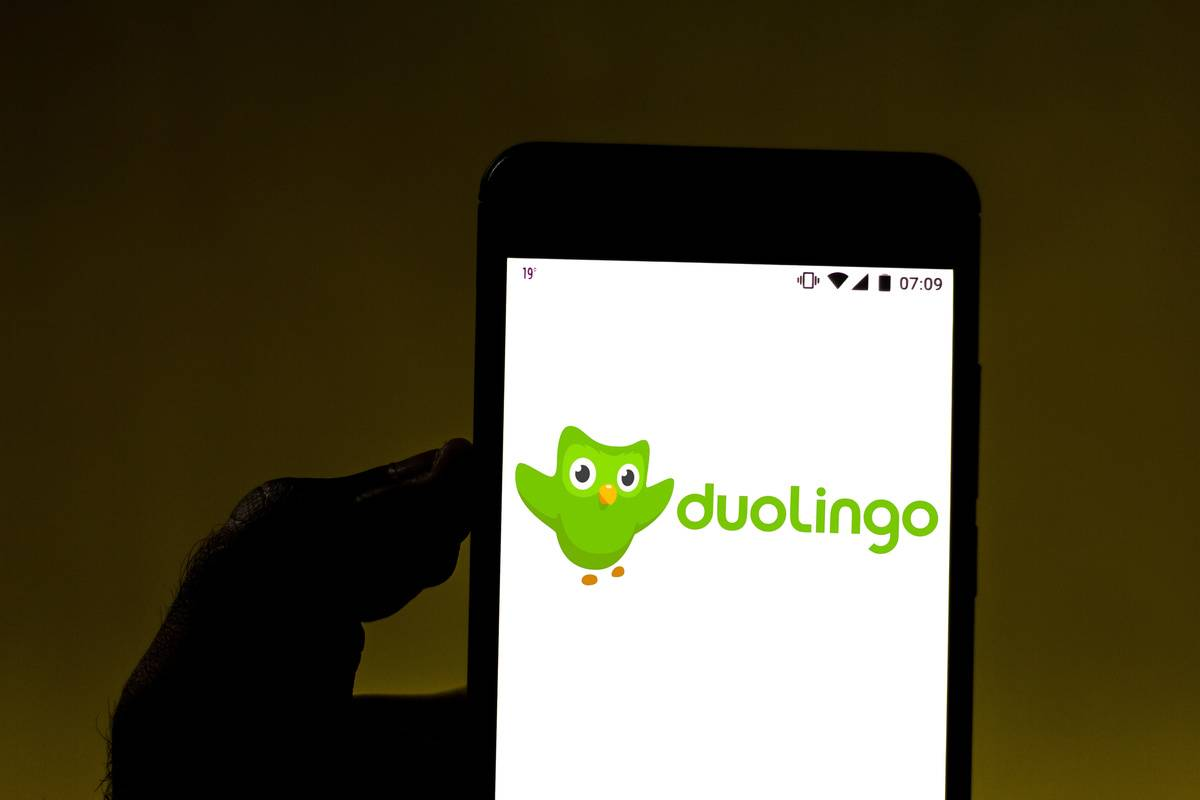 phone with duolingo
