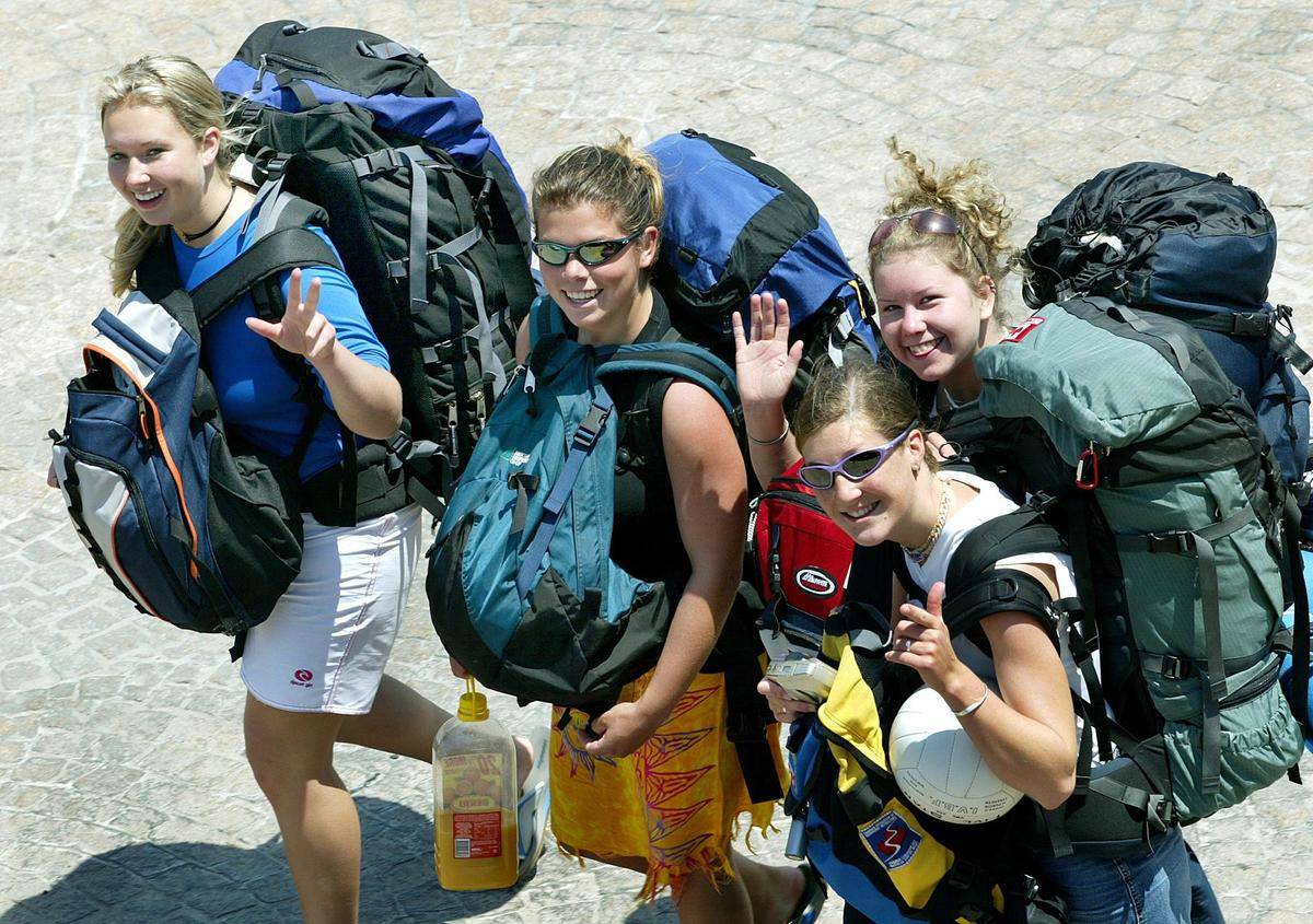 group of backpackers smiling