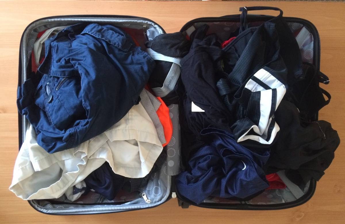 suitcase of clothes