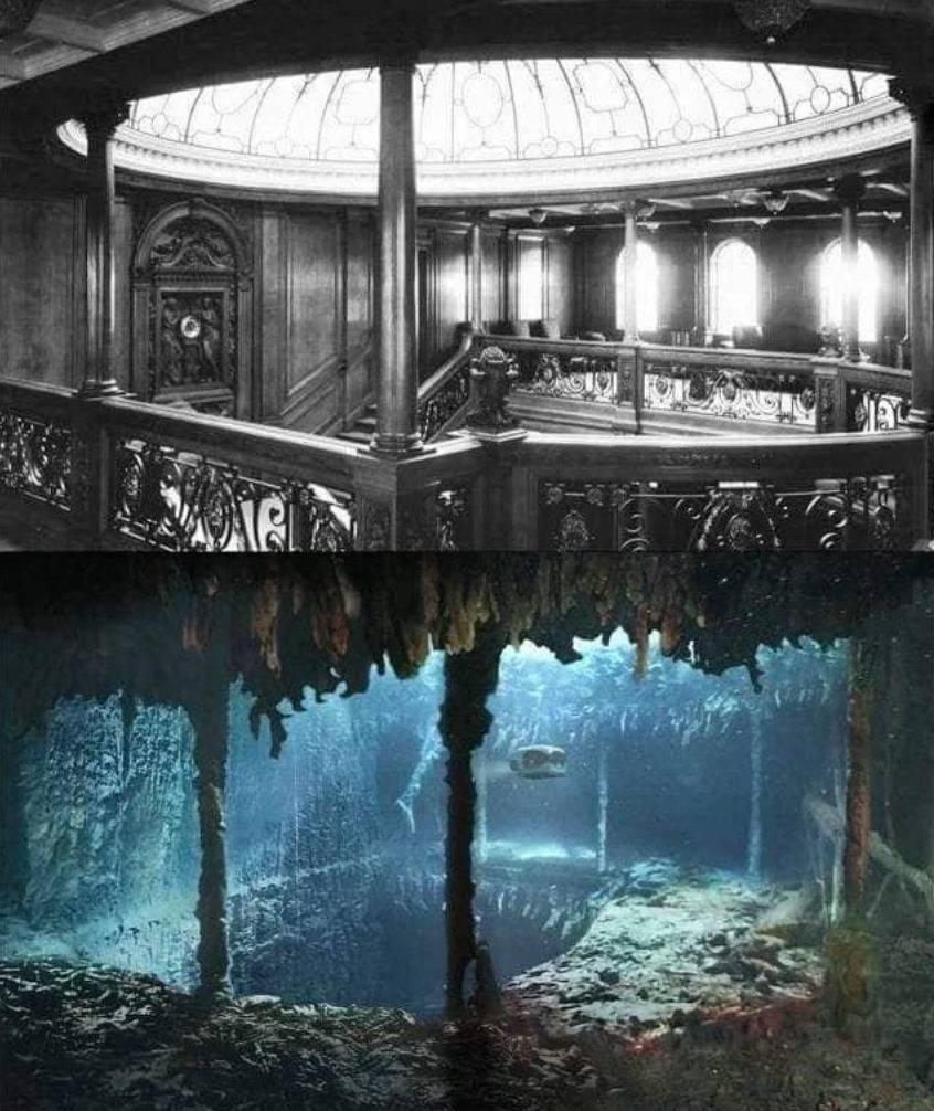 the titanic as it was vs how it looks now in the ocean