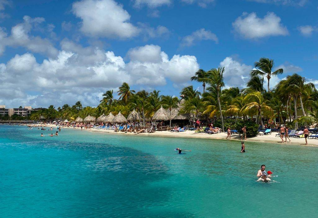 people at the beach in Willemstad, Curaçao