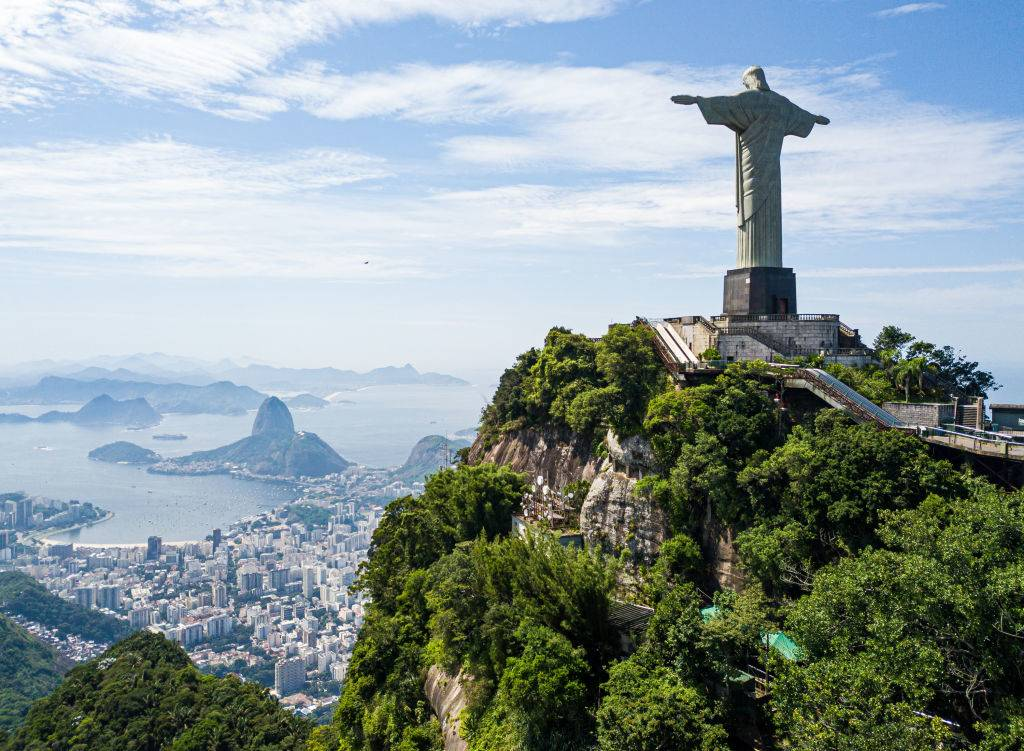 aerial view of rio de janeiro with christ the redeemer. there aren't any people