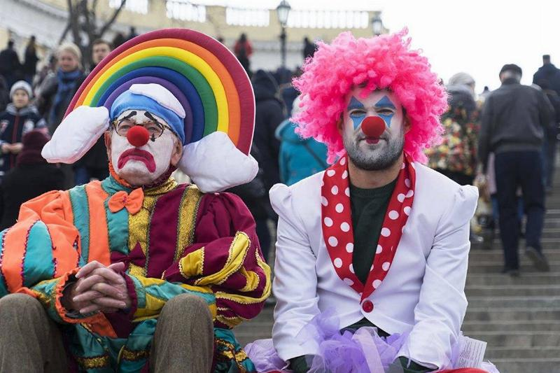 jack whitehall and his dad dressed as clowns