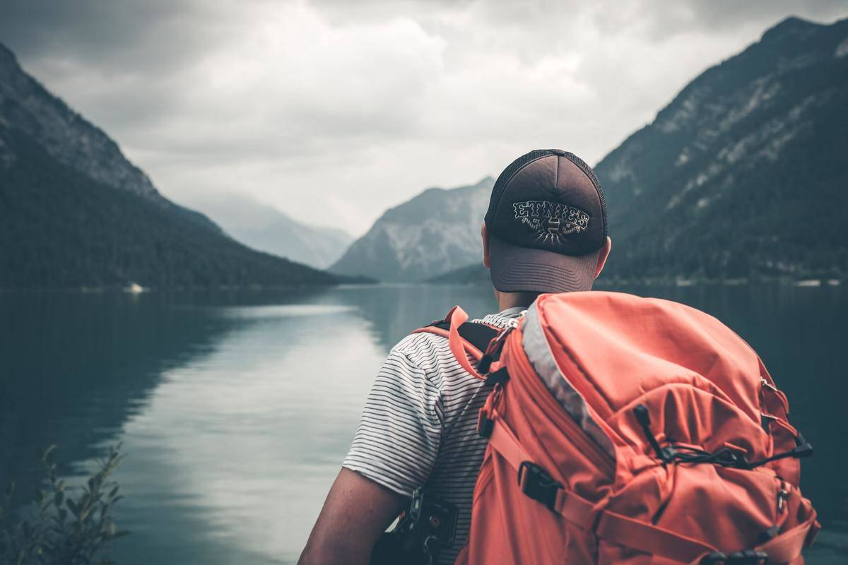 man with hiking pack