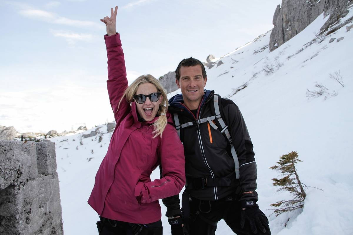 kate hudson and bear grylls in the snow