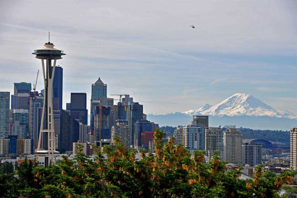 A general view of the Seattle Skyline and Mount Rainier from Kerry Park
