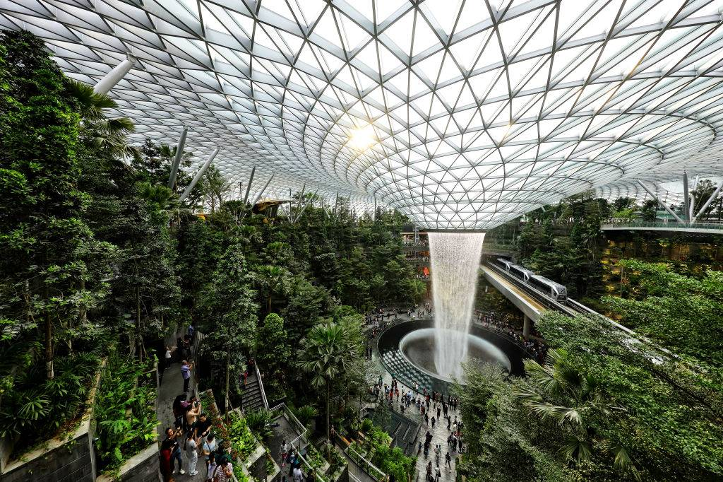trees inside an airport with an indoor waterfall in singapore, malaysia